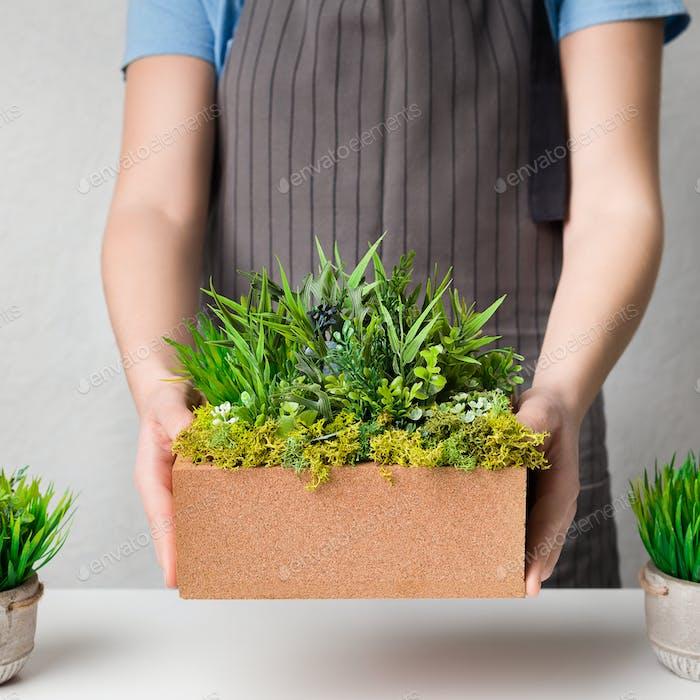 Woman gardener putting evergreen grassy plant on table