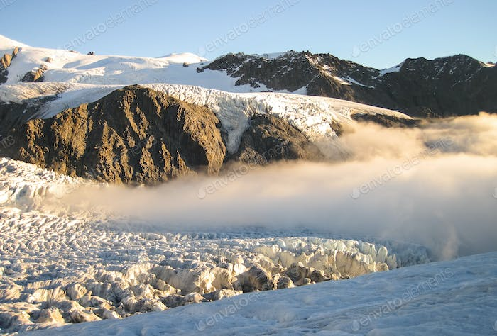 Clouds Roll in Over the Fox Glacier in New Zealand