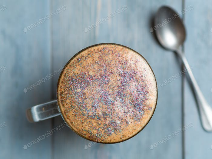diamond cappuccino coffee with edible glitter