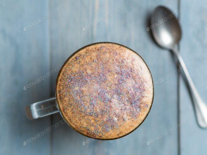diamond cappuccino coffee with edible glitter