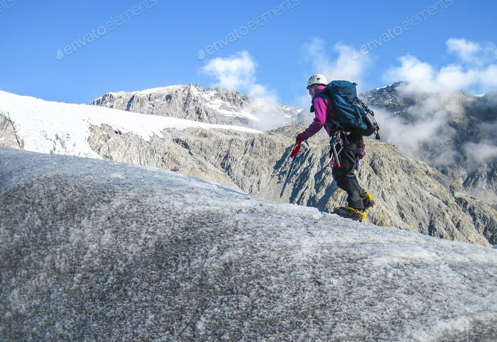Climber on the Fox Glacier in New Zealand