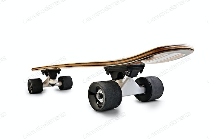 Dynamic rear view of a Black and wooden skate board isolated