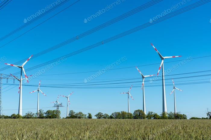 Wind turbines and power supply lines