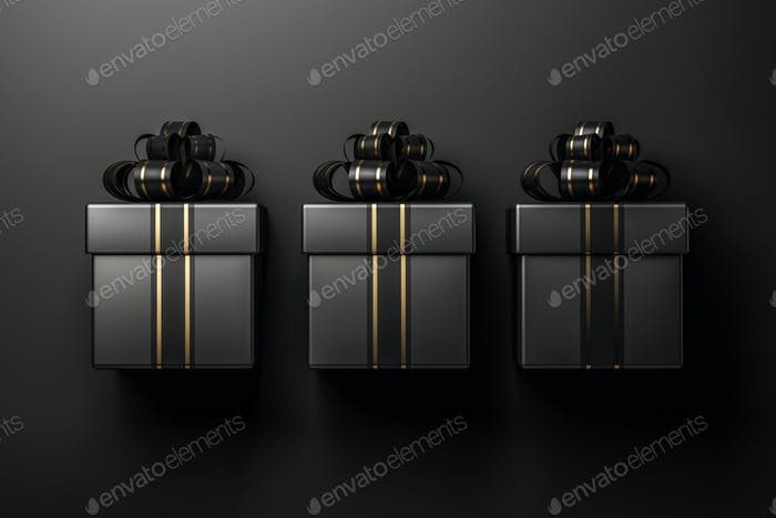 Black gift box on black background 3d rendering