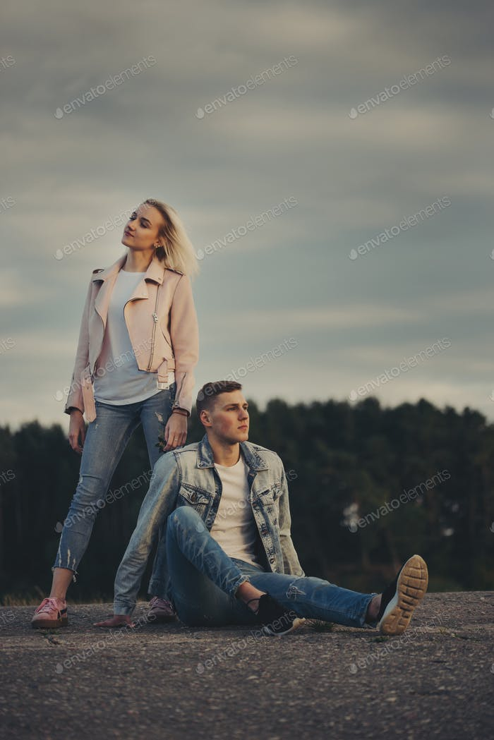 beautiful blonde girl with boyfriend