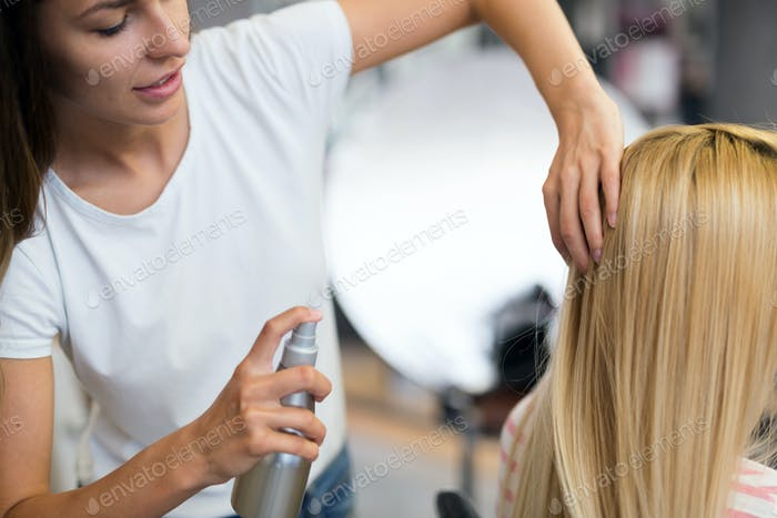 Portrait of a woman at the hair salon