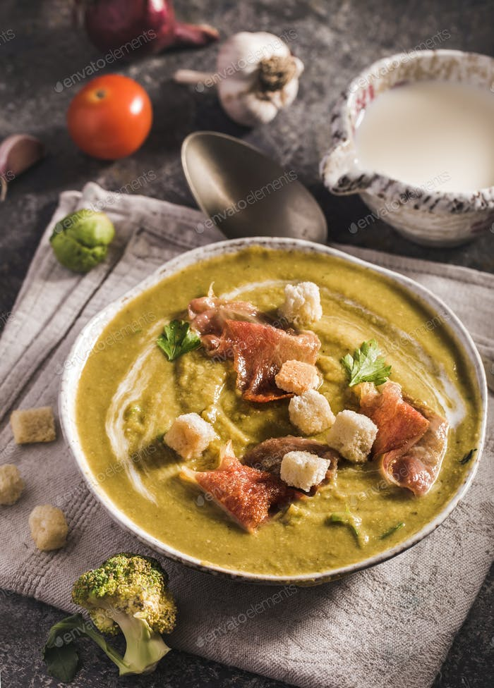Bowl of brussels sprouts soup