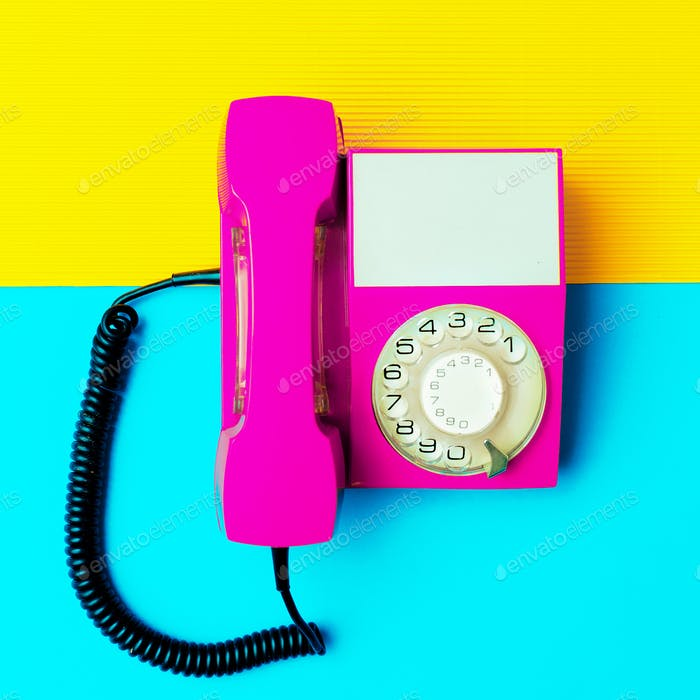 Retro pink phone. Minimal design art
