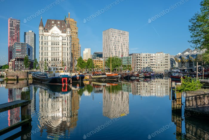 Rotterdam city cityscape skyline with, Oude Haven, Netherlands.