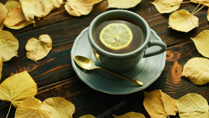 Cup of hot tea with lemon