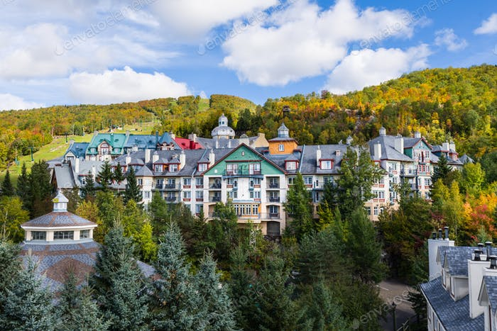 Mont-Tremblant village general view of condos and mountain in fall