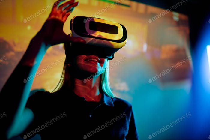 Excited girl in new virtual reality
