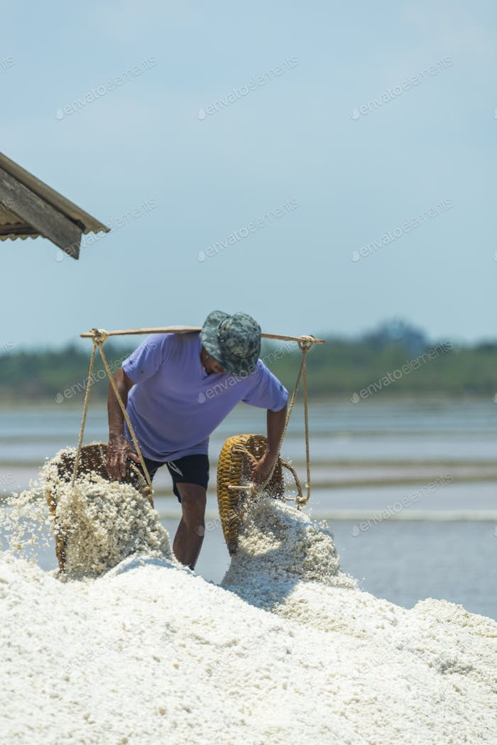 A lot of salt in the salt fields of farmers in Thailand.