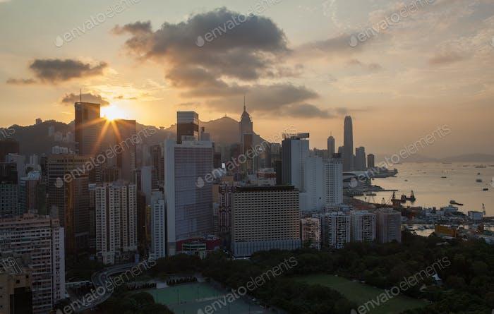 Golden sunset in Hong Kong