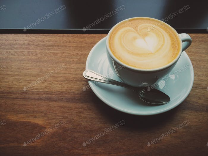 Latte on a Wooden Table