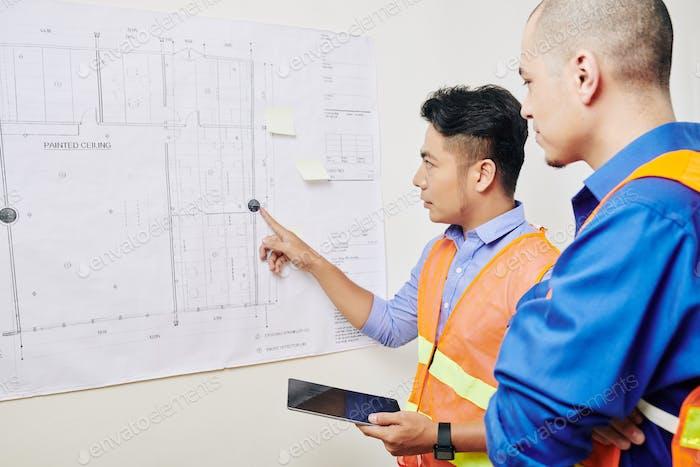 Team von Ingenieuren diskutieren Blaupause