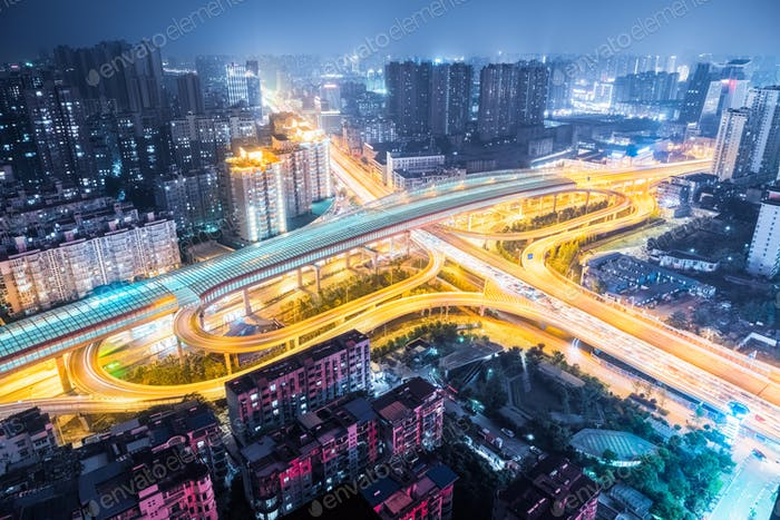 aerial view of city interchange at night ,wuhan , China