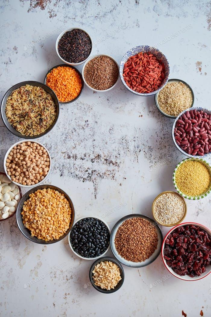 Kreiszusammensetzung mit Kopierraum verschiedener Arten biologischer Lebensmittel