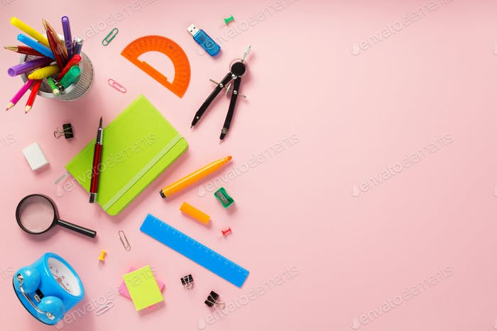 school accessories and supplies at abstract background
