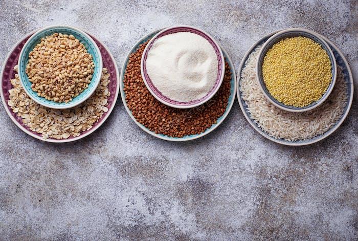 Different type of groats: rice, semolina, wheat, oatmeal, oat, buckwheat