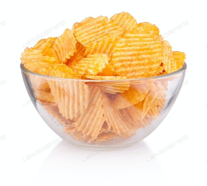 Crinkle cut potato chips in bowl isolated on white background