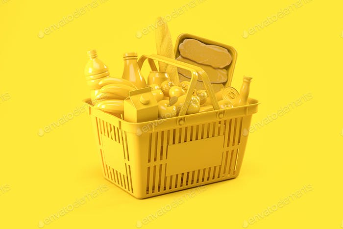 Yellow shopping basket with yellow food on yellow background. Food delivery.