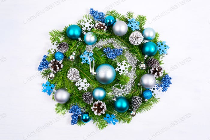 Christmas wreath with pale blue and turquoise baubles, silver be