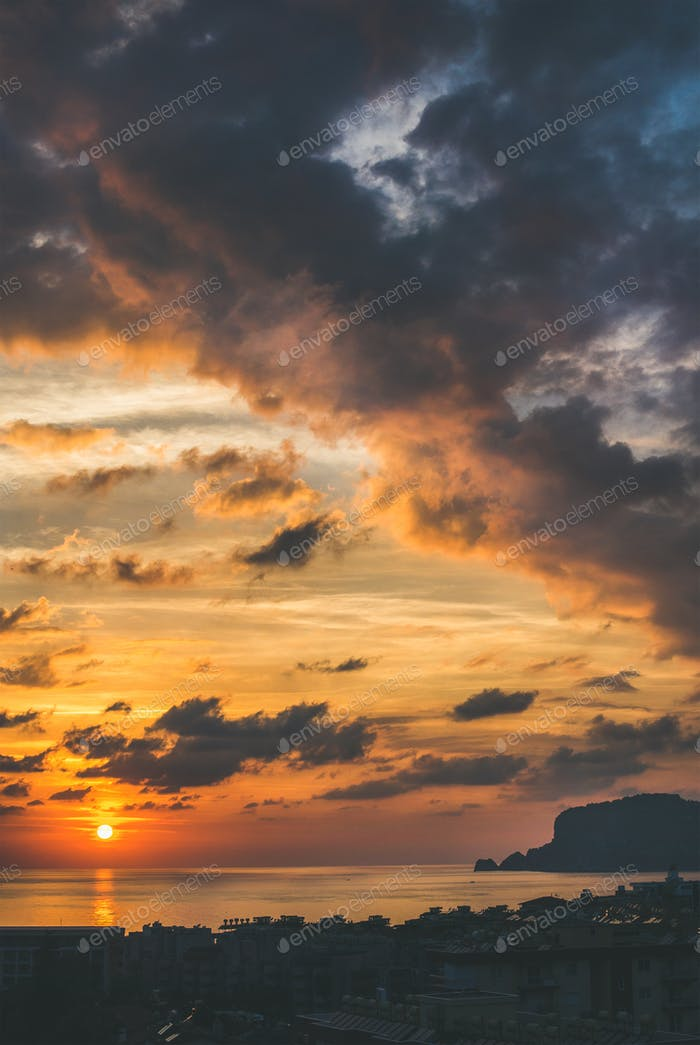 View of sunset over Mediterranean sea and evening sky, Turkey
