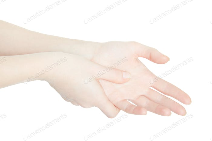 Woman hand touching with thumb the painful palm on white