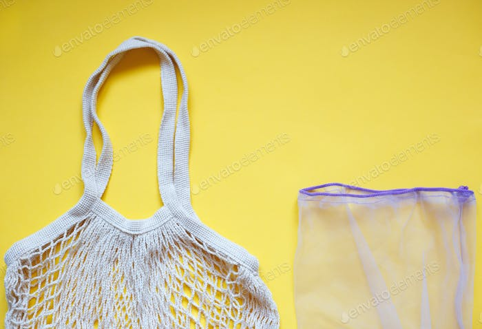 eco reusable tote bag for shopping on yellow background