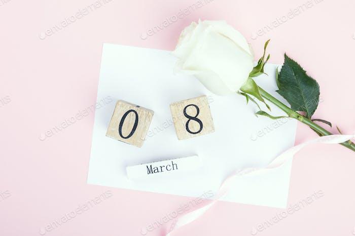 Wooden block calendar International of March 8