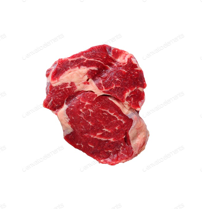 Roh marmoriertes Ribeye Steak isoliert auf weiß