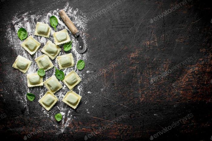 Italienischer Ravioli roh.