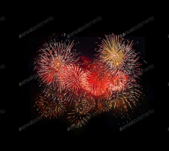 Hell buntes Feuerwerk