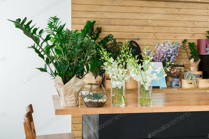 Flower shop interior detail, small business of floral design studio