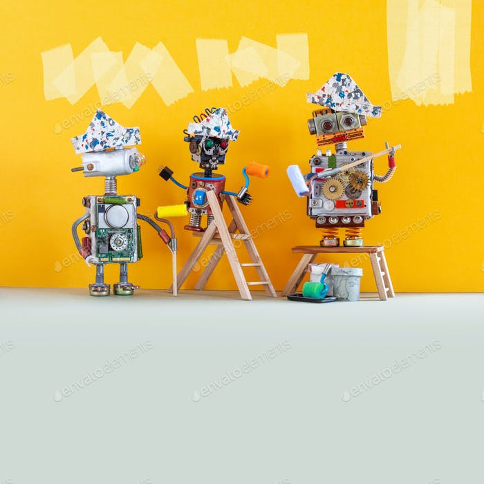Funny robotic workers with paint rollers and buckets