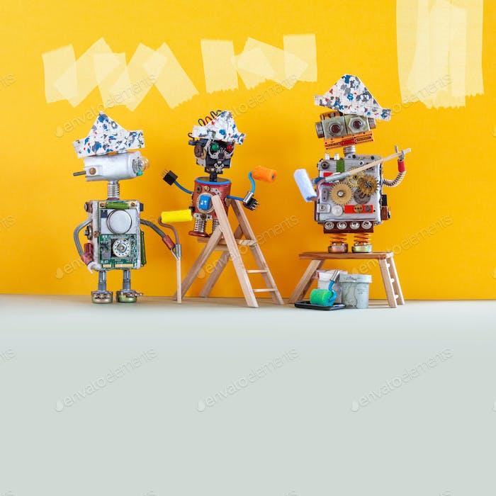 Смешные роботизированные рабочие с лакокрасочными роликами и ведрами