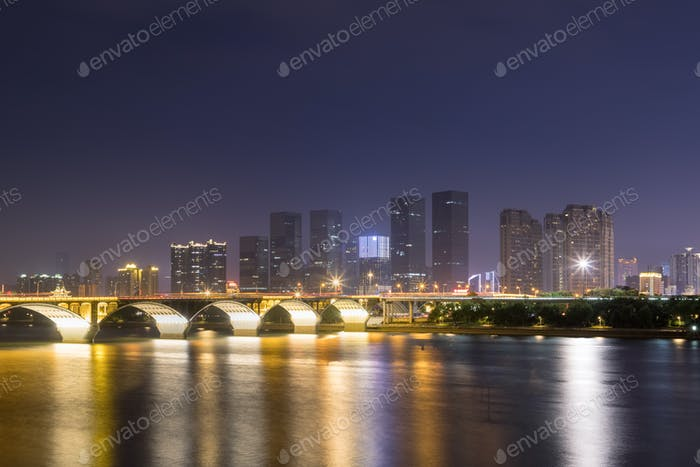 beautiful xiangjiang river at night, changsha cityscape, China