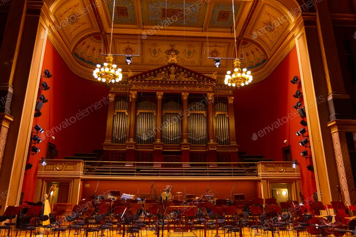 Interior of Rudolfinum Concert Hall. Equipment of the Orchestra in philharmonia, Prague, 20.11.2019