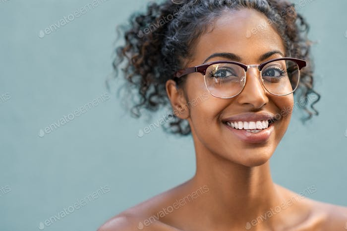 Beautiful black woman wearing eyeglasses