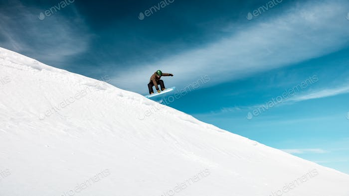 Active man on snowboard