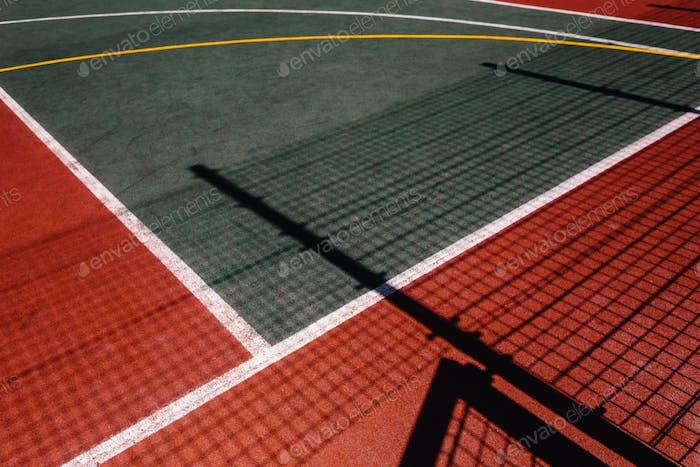 Farbenfroher Sportplatz Draufsicht, Sport-Lifestyle-Konzept