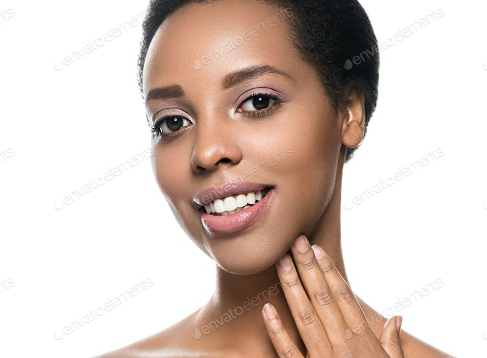 Black skin beauty woman pure natural skin afro girl isolated on white