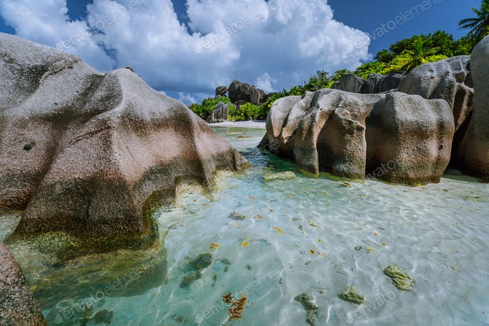 Anse Source d'Argent one of the most beautiful beach on the world. Huge granite boulders