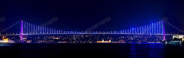 Illuminated Bosphorus bridge