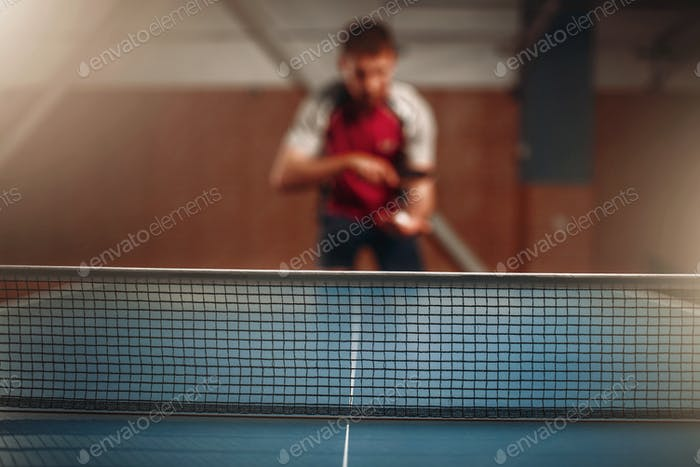 Table tennis net, selective focus