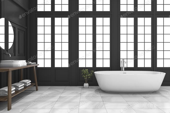 3d rendering black classic bathroom with luxury style near window