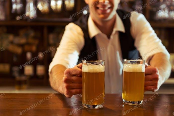 Handsome bartender working