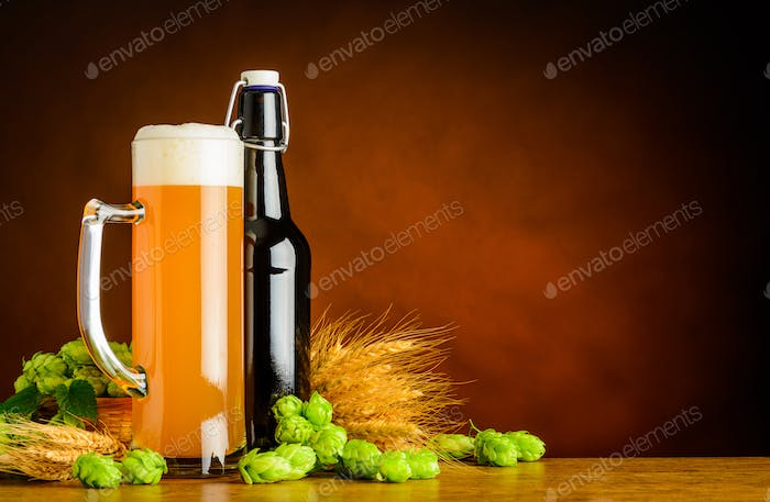Wheat Beer and Brewing Ingredients with Copy Space