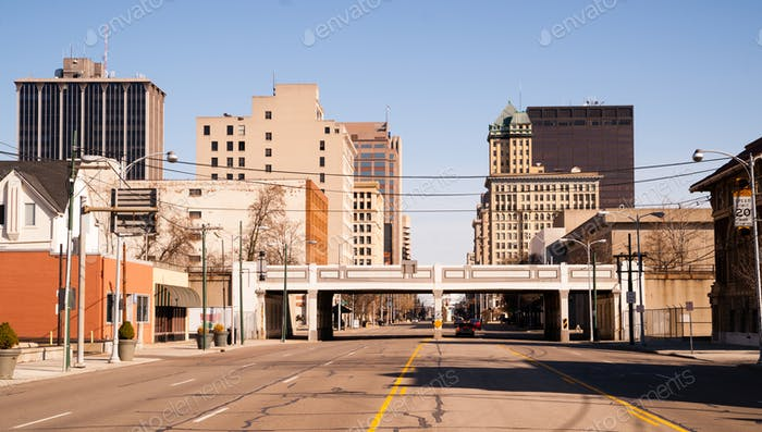 Lonely Sunday Morning Desolate Street Downtown City Skyline Dayton Ohio